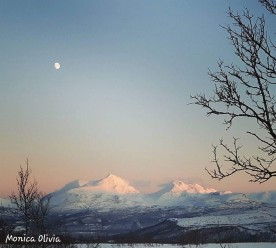 Cold january day and the moon near Målselv, Troms